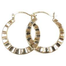 Textured Hoop Earrings 14k Yellow Gold