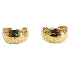 Ornate Huggie Hoop Earrings 18k Yellow Gold
