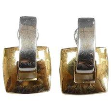 Geometric Two-Tone Square Earrings 18k Gold