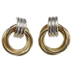 Two-Tone Interlaced Triple Circle Earrings 14k Gold