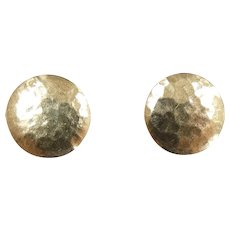 Hammered Textured Circle Stud Earrings 14k Yellow Gold
