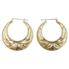 Florentine & Polished Hoop Earrings 14k Yellow Gold