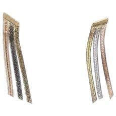 Tri-Gold Triple Strand Dangle Earrings 14k Gold