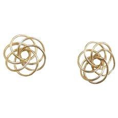 Interlocking Circle Swirl Floral Knot Earrings 14k Yellow Gold