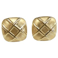 Large Statement Square Crisscross Stud Earrings 14k Yellow Gold