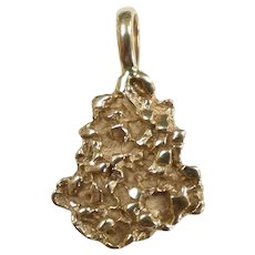 Gold Nugget Pendant 14k Yellow Gold