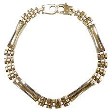 """Alternating Fancy Railroad Link Bracelet 8"""" 18k Yellow Gold"""