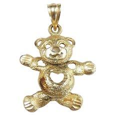 Articulated Teddy Bear Pendant 14k Yellow Gold