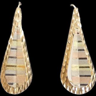 Fun Tri-Color Tear Drop Earrings 14k Gold