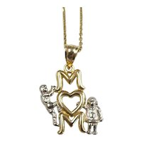 """MOM Pendant with 18"""" Cable Chain Necklace 14k Yellow & White Gold"""