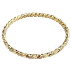 """Sand Stone & Polished Twisted Bangle Bracelet 7 1/4"""" 14k Yellow Gold"""