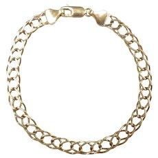 """Fancy Flat Link Bracelet 7"""" 14k Yellow Gold"""