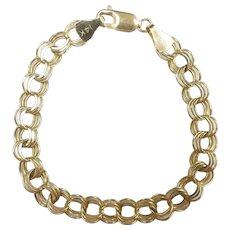 """Triple Link Charm Bracelet 7"""" 14k Yellow Gold"""