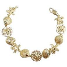 "Sea Life Themed Bracelet 7 1/2"" 14k Yellow Gold"