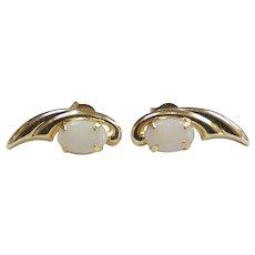 Dainty Opal Stud Earrings 14k Yellow Gold
