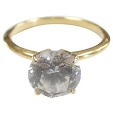 2.00 ct Faux Diamond Solitaire Engagement Ring 14k Yellow Gold ~ 2.34 Grams ~ 6 1/2