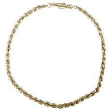 "Rope Chain Bracelet 14k Yellow Gold ~ 1.58 Grams ~ 7 3/4"""