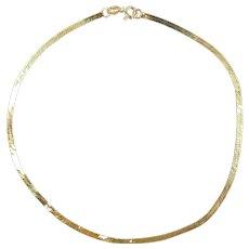 "Dainty Herringbone Anklet 14k Yellow Gold ~ 1.04 Grams ~ 9"""