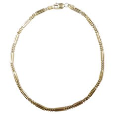 """Fancy Link Anklet 14k Yellow Gold ~ 5.48 Grams ~ 9 1/2"""""""
