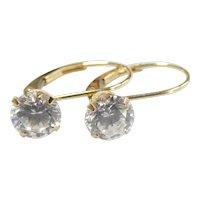 "1.50 ctw Faux Diamond Drop Earrings 14k Yellow Gold ~ 1.50 Grams ~ 5/8"""
