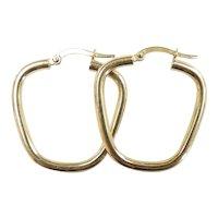 """Geometric Outline Hoop Earrings 14k Yellow Gold ~ 1.79 Grams ~ 1 3/16"""""""