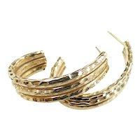 "Diamond Cut J Hoop Earrings 14k Yellow Gold ~ 3.09 Grams ~ 1 1/8"""