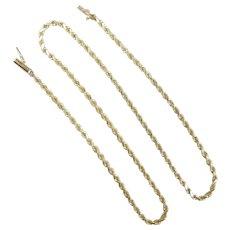 "Diamond Cut Rope Chain 14k Yellow Gold ~ 12.25 Grams ~ 18"""