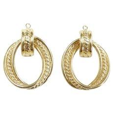 "Rope Accent Door Knocker Earring Jackets 14k Yellow Gold ~ 4.44 Grams ~ 1 1/8"""