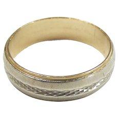 Vintage Two-Tone Men's Textured Wedding Band Ring 14k Gold ~ 5.32 Grams ~ 10 3/4