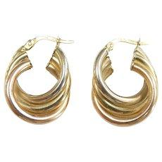 """Tri-Color Gold Triple Twisted Hoop Earrings 14k Gold ~ 3.76 Grams ~ 15/16"""""""