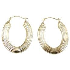 """Line Texture Hoop Earrings 14k Yellow Gold ~ 1.50 Grams ~ 1 3/16"""""""