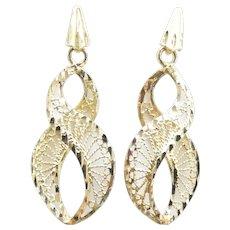 "Filigree Infinity / Figure 8 Dangle Earrings 14k Yellow Gold ~ 2.44 Grams ~ 1 3/8"""
