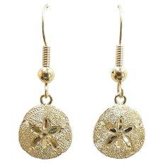 "Sand Dollar Drop Earrings 14k Yellow Gold ~ 2.89 Grams ~ 1 3/8"""