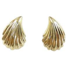 "Scalloped Stud Earrings 14k Yellow Gold ~ .70 Grams ~ 5/8"""