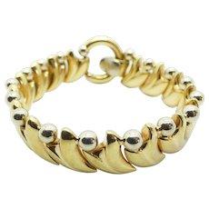 Fancy Geometric Link Bracelet Two-Tone 18k Gold ~ 36.18 Grams ~ 7 1/2