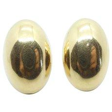 """Oval Stud Earrings 18k Yellow Gold ~ 8.94 Grams ~ 1 1/8"""""""