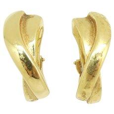 """Cross-Over J-Hoop Omega Back Earrings 18k Yellow Gold ~ 9.11 Grams ~ 1 1/8"""""""