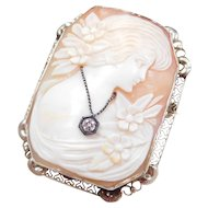 Carved Shell Cameo En Habille White Gold Filigree Frame 1920's