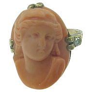 RARE Sculpturesque Coral Cameo & Diamond Ring 10k Gold sz 4 Mid-Victorian Era