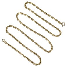 "Anchor Solid Link Chain Necklace 14K Gold 21"" Length, 15.81 Grams"