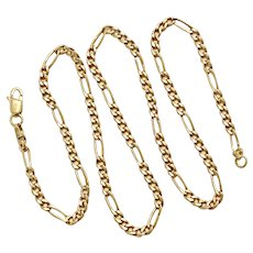 "Figaro 5:1 Link Chain Necklace 14K Gold 4.37 Grams, 17-1/2"" Length"