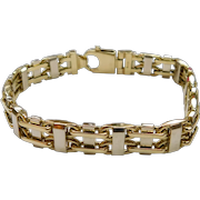 Solid Railroad Link Bracelet 14k Two-Tone Gold, 61.8 Grams