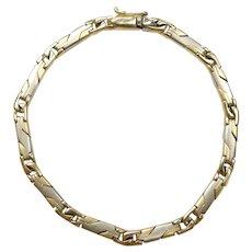 """Fancy Satin Finished Link Bracelet 14k Two Tone Gold 7 1/16"""" Length, 10.6 Grams"""