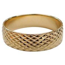 14k Yellow Gold Rhombus / Diamond Design Band Ring, 5.3 Grams