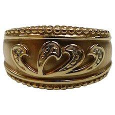 14k Yellow Gold Freeform Diamond Band Ring, 5.2 Grams