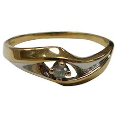 Diamond Solitaire Ring, 14k Two Tone Gold 2.1 Grams