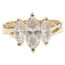 14k Gold 1.76 ctw Faux Diamond Three Stone Ring