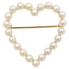 14k Gold Cultured Pearl Heart Pin / Brooch