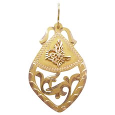 Vintage Ornate Pierced Pendant 14k Yellow and Rose Gold