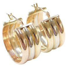 14k Gold Wide Tri-Color Hoop Earrings